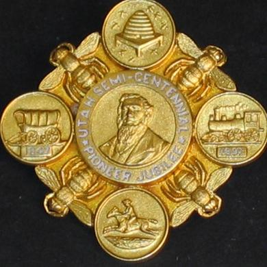 Utah Semi-Centennial Pioneer Jubilee pin presented to Green Flake in 1897.