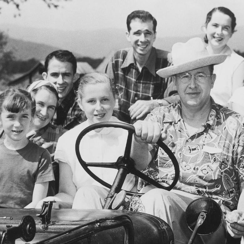 Ezra Taft Benson with his wife, Flora, and their six children