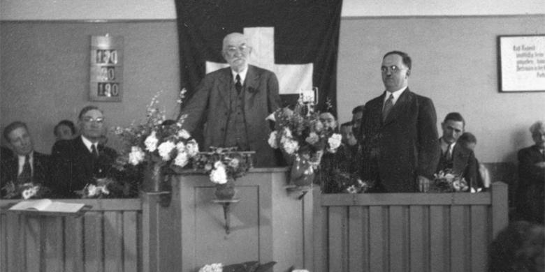 Heber J. Grant addressing Saints in Switzerland, 1937