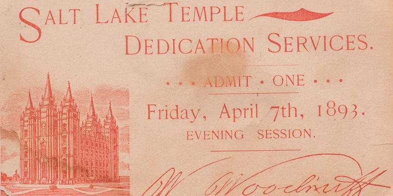 Ticket for Salt Lake Temple Dedication, 1893