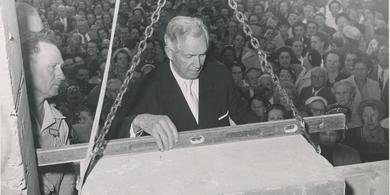 David O. McKay at the Cornerstone Ceremony for the Relief Society Building, October 1, 1953