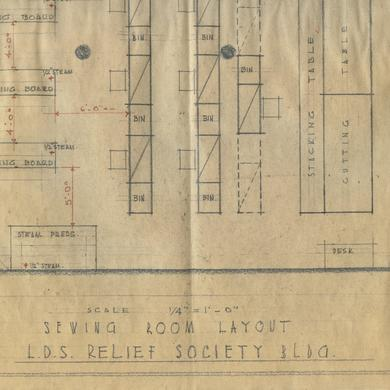 Architectural drawing for the Relief Society Building
