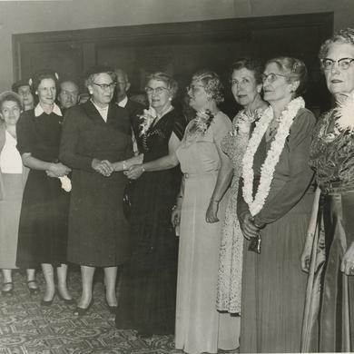 The Relief Society General Presidency greets visitors at the building's open house in October 1956