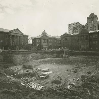 Photograph of the excavation for the Relief Society Building