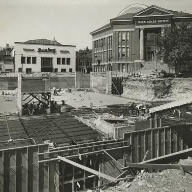 Construction site of the Relief Society Building and environs