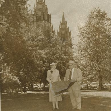 Belle S. Spafford and George Cannon Young inspect the site of the Relief Society Building