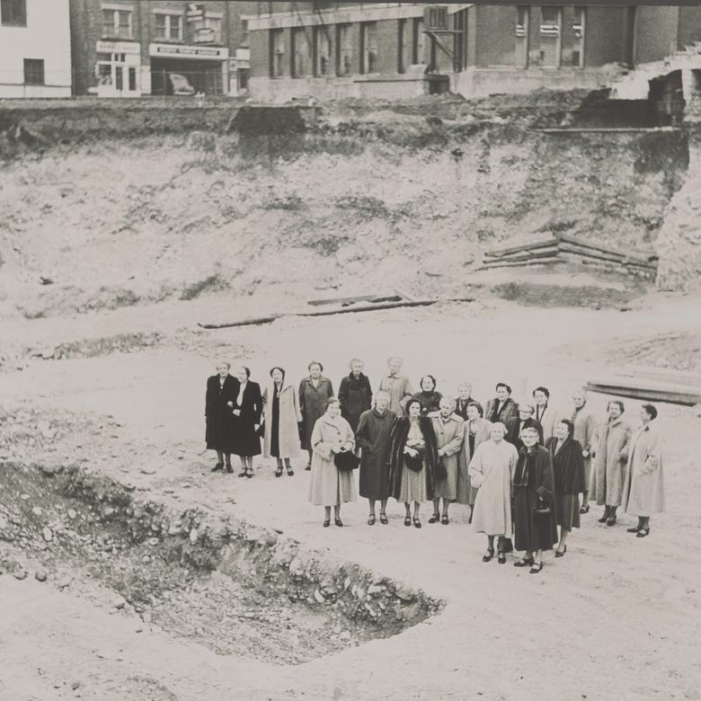 Relief Society General Board inspects the excavation for their building